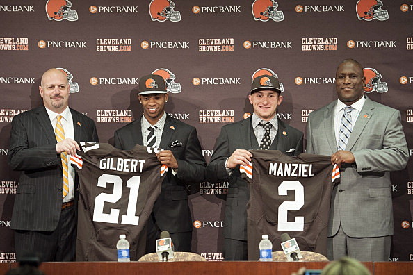 Cleveland Browns' Justin Gilbert and Johnny Manziel