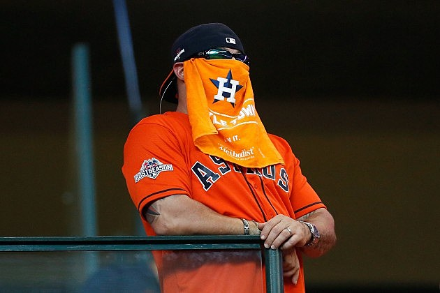 during game four of the American League Divison Series at Minute Maid Park on October 12, 2015 in Houston, Texas.